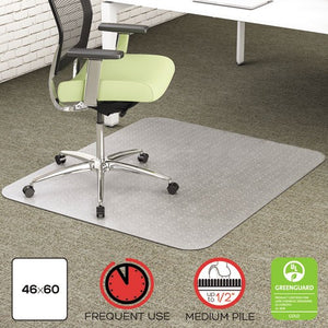 deflecto EnvironMat Recycled Anytime Use Chair Mat for Med Pile Carpet, 46 x 60, Clear, DEF CM1K442FPET