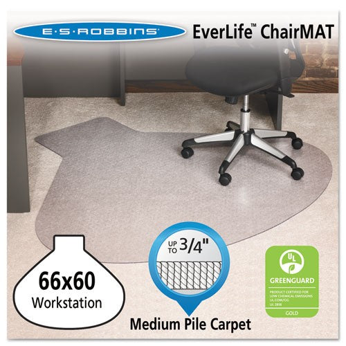 ES Robbins EverLife Chair Mats For Medium Pile Carpet, Contour, 66 x 60, Clear, ESR 122775