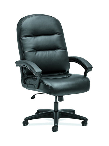 HON The Company HON2095HPWST11T Pillow-Soft Chair, EXECUTIVE HIGH-BACK, SofThread BLACK LEATHE