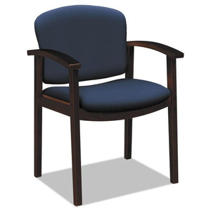 2111 Invitation Reception Series Wood Guest Chair, Navy, Fabric, Mahogany Finish HON 2111NCU98
