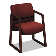 HON® 2400 Series Guest Arm Chair, Mahogany Finish, Burgundy Fabric