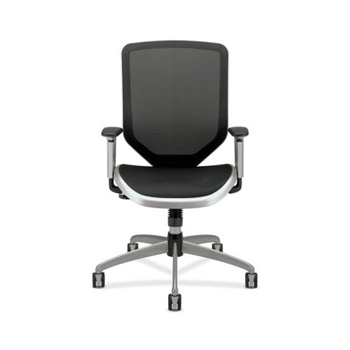 HON Boda Series Mesh High-Back Work Chair, Supports up to 250 lbs., Black Seat/Black Back, Titanium Base