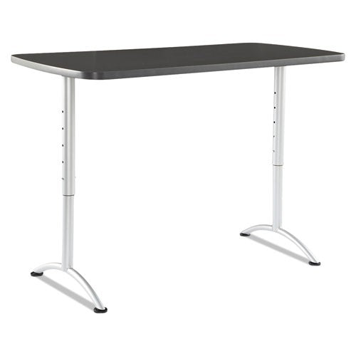 ARC Sit-to-Stand Tables, Rectangular Top, 30w x 60d x 30-42h, Graphite/Silver ICE 69317