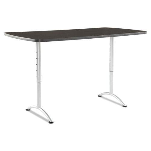 ARC Sit-to-Stand Tables, Rectangular Top, 36w x 72d x 30-42h, Gray Walnut/Silver