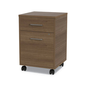 Linea Italia Urban Mobile File Pedestal, 16w x 15.25d x 23.75h, Natural Walnut