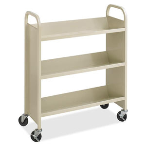 "Safco Steel 3-Shelf Single-Sided Book Carts - 3 Shelf - 2.50"" (63.50 mm) Caster Size - Steel - 36"" Width x 14.5"" Depth x 43.5"" Height - Sand"