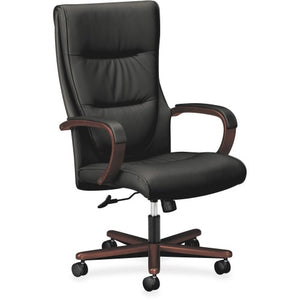 HON Topflight Executive High-Back Chair, Black Leather Seat - Black SofThread Leather Back