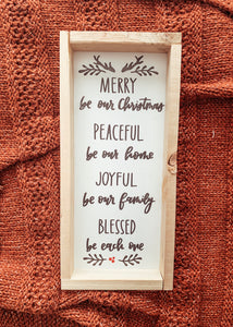 """Merry, Peaceful, Joyful, Blessed"" White Framed Sign"