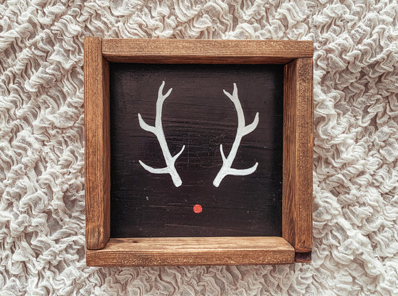 Reindeer Black Framed Sign