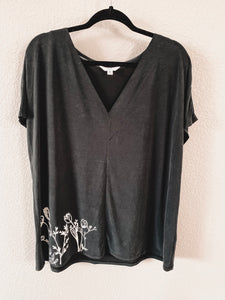 Wildflower Black Slouchy V Neck- 2XL