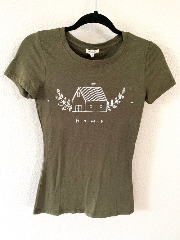 """Home"" Olive Green Fitted Crew Neck Tshirt-Small"