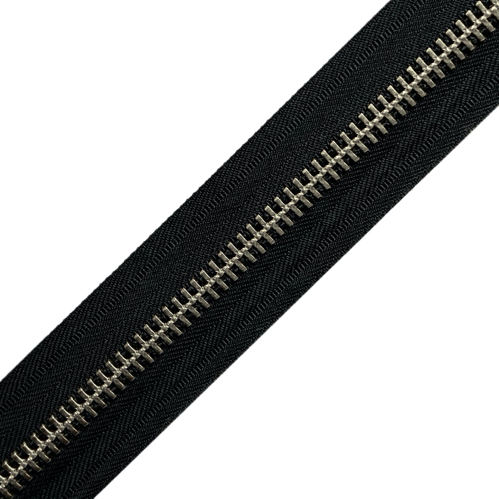 YKK Black #10 Metal Zippers - Nickel (by the yard)