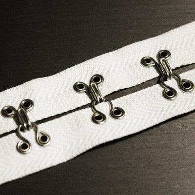Cream / Silver Heavy-Duty Hook 'N' Eye Tape (By The Yard)