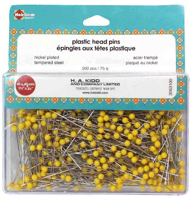 HEIRLOOM Quilting Plastic Head Pins Yellow - 500pcs -