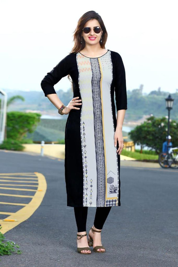 Women's Digital Printed American Crepe Straight Kurti - CRP14