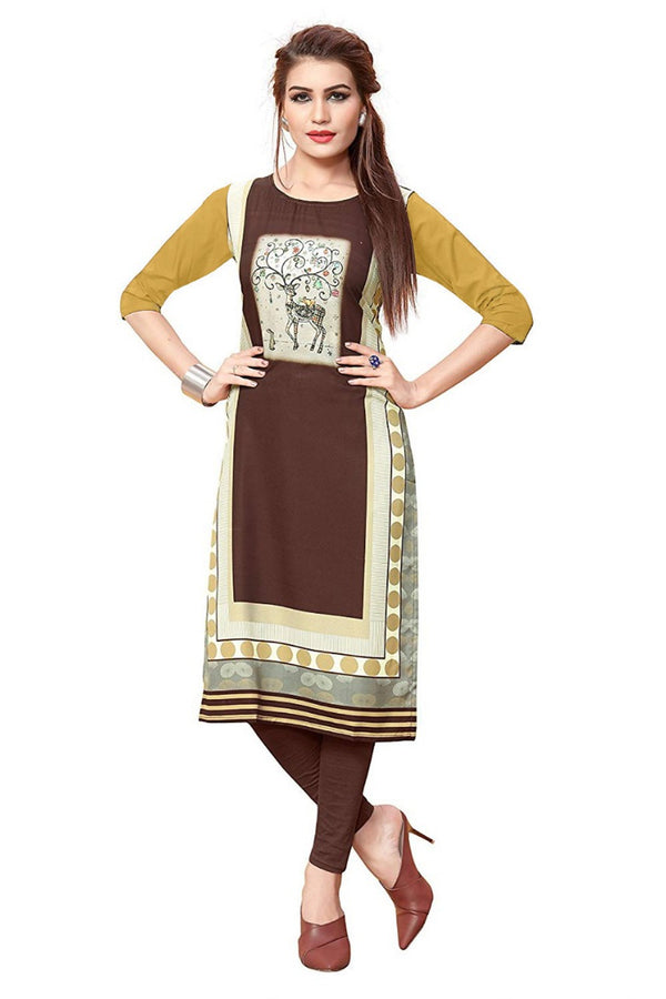 Women's Digital Printed American Crepe Straight Kurti - CRP23