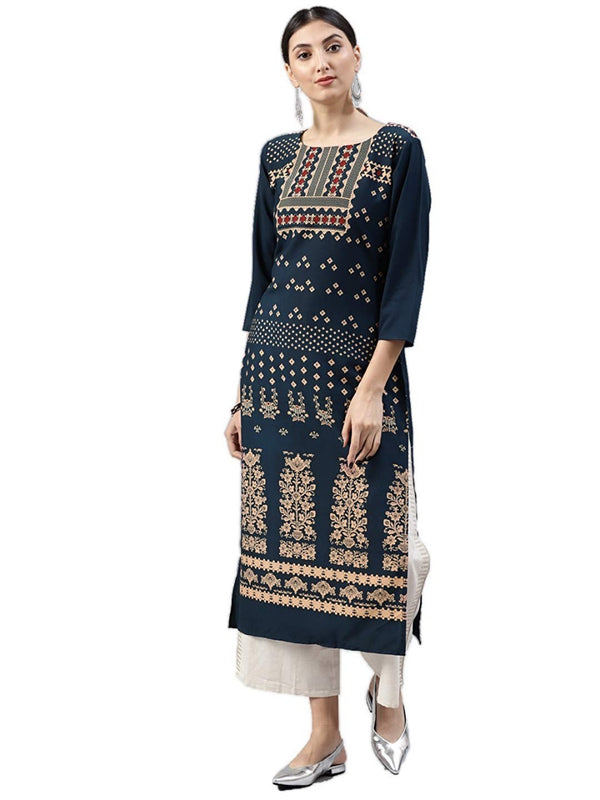 Women's Digital Printed American Crepe Straight Kurti - CRP26