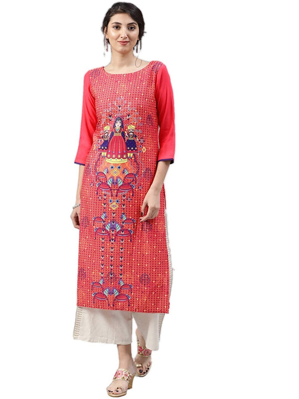 Women's Digital Printed American Crepe Straight Kurti - CRP27