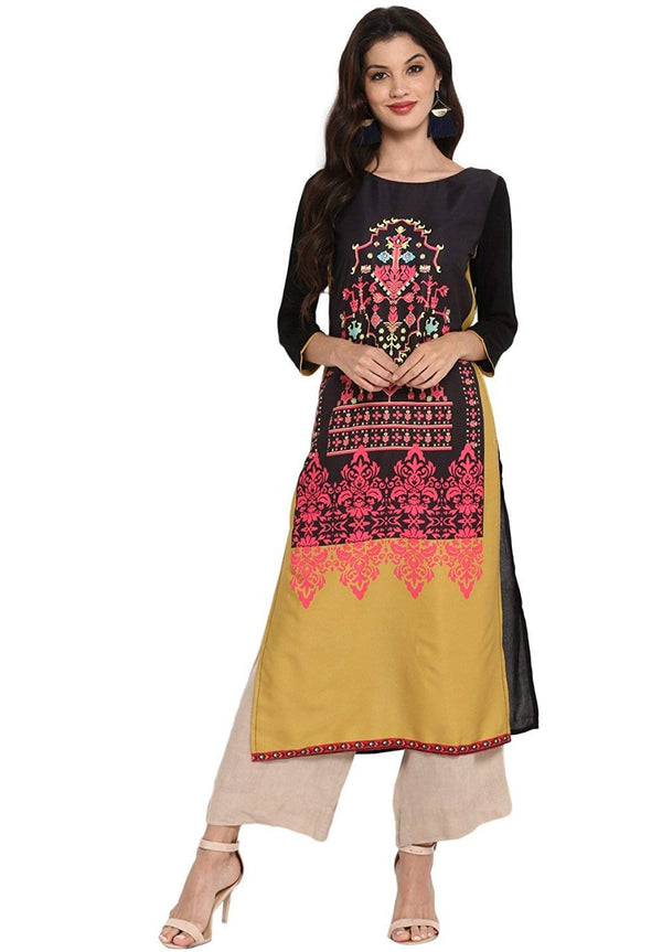 Women's Digital Printed American Crepe Straight Kurti - CRP29