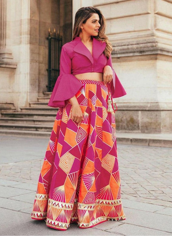 Excellent Pink Colored Designer Party wear Digital Printed Satin Lehenga Choli - DG009