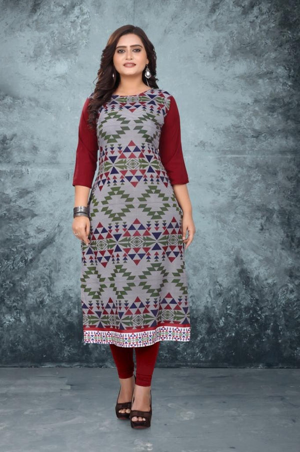 Women's Digital Printed American Crepe Straight Kurti - CRP32