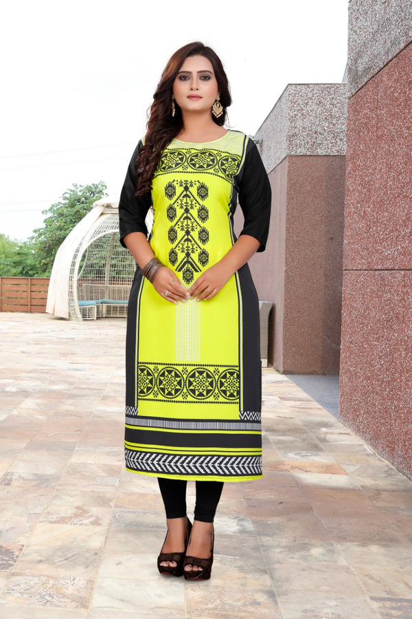 Women's Digital Printed American Crepe Straight Kurti - CRP34