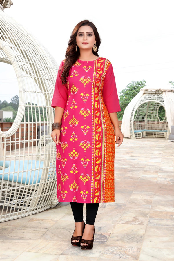 Women's Digital Printed American Crepe Straight Kurti - CRP36