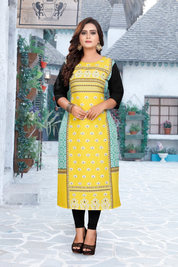 Women's Digital Printed American Crepe Straight Kurti - CRP39
