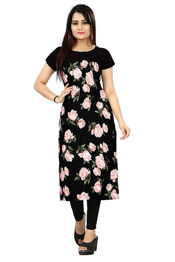 Women's Digital Printed American Crepe Straight Kurti - CRP42