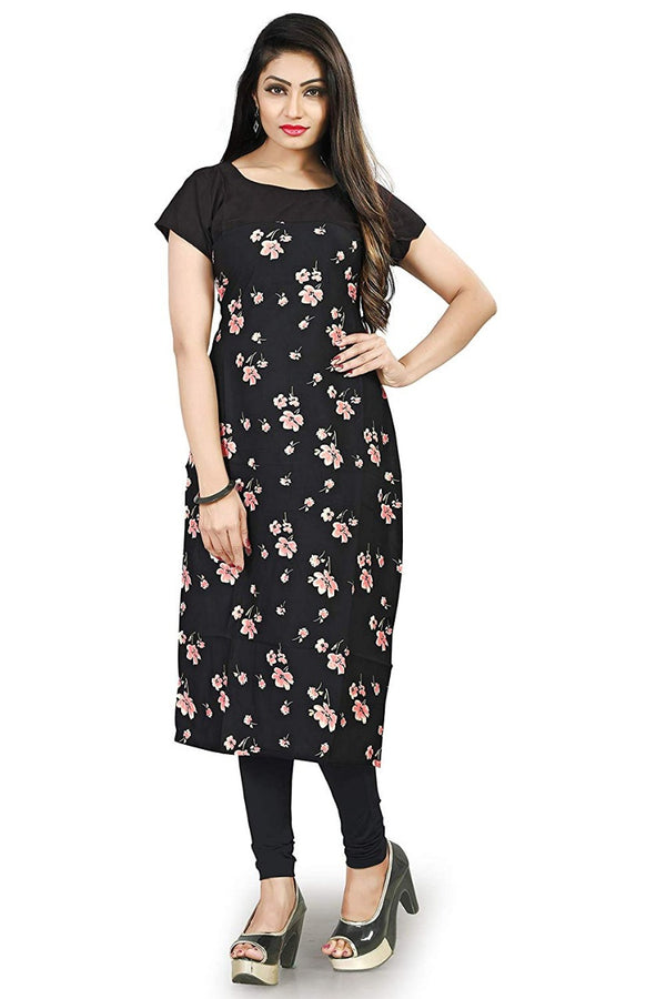 Women's Digital Printed American Crepe Straight Kurti - CRP44