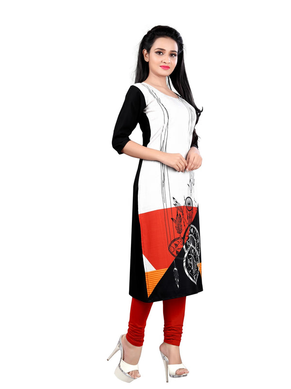 Women's Digital Printed American Crepe Straight Kurti - CRP56