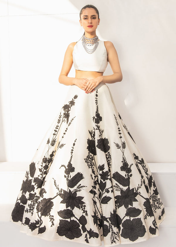 Fabulous Off-White Designer Party wear Floral Digital Printed Satin Lehenga Choli - DG010
