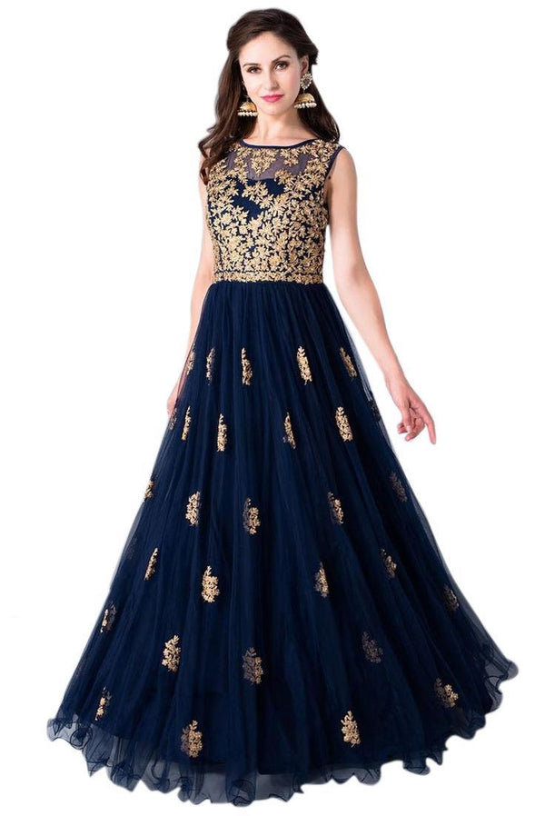 Unique Nevy Blue Colored Embroidered Designer Gown - GW001 - Women Clothing - Womanik