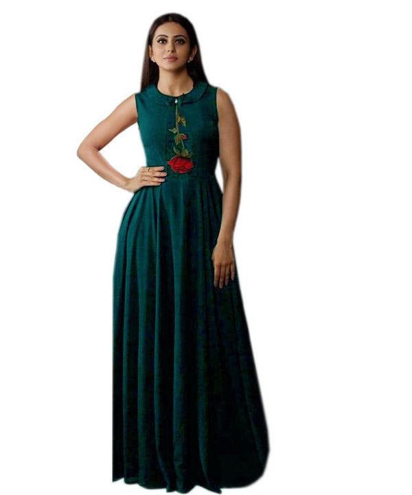 Sophisticated Turquoise Colored Embroidered Rayon Designer Gown - Gulabo_Turquoise - Women Clothing - Womanik