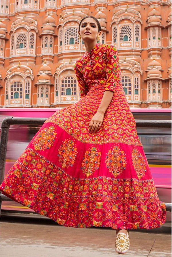 Sizzling Pink Printed Crystal Silk Designer Anarkali Gown For Women - KT001
