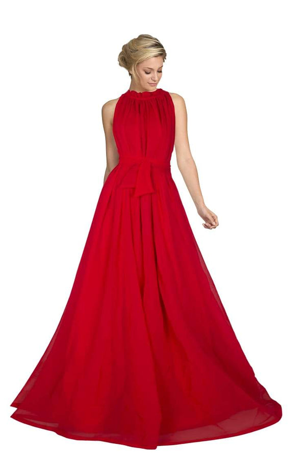 Intricate Red Colored Georgette Evening Gown - KT02_Red