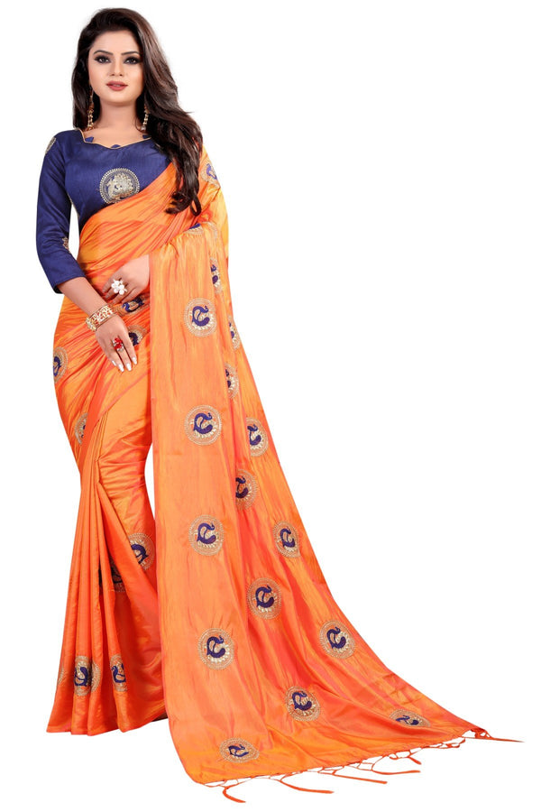 Imposing Orange Colored Party Wear Embroidered Sana Silk Saree - Mor_Orange - Women Clothing - Womanik