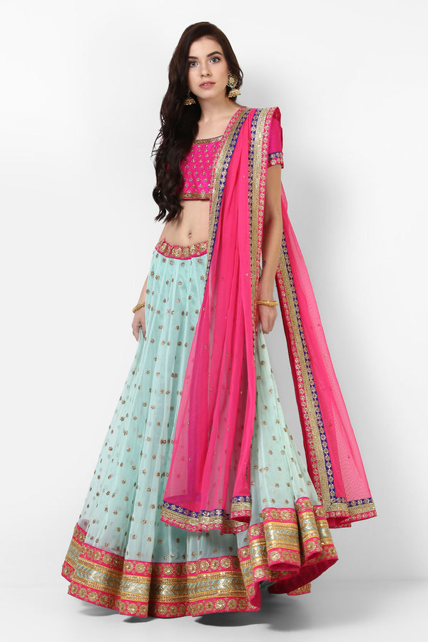 Elegant Designer Embroidered Net with Lehenga Choli - OD06