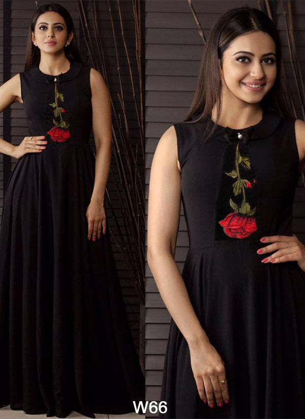 New Party Wear Black Rayon Ready-Made Designer Wear Gown - Gulabo