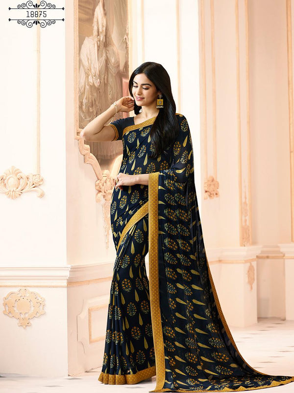 Pretty Yellow Black Colored Casual Georgette Printed Saree - CHNT_Yellow Black - Women Clothing - Womanik