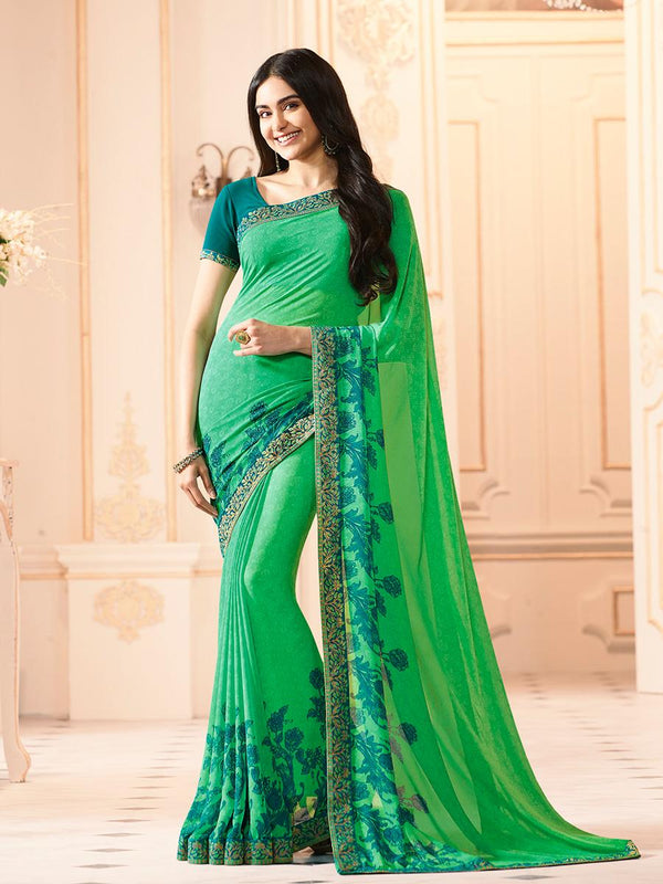 Lovely Green Colored Casual Georgette Printed Saree - CHNT_Green - Women Clothing - Womanik