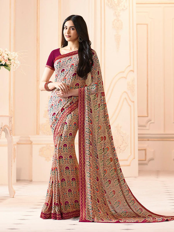 Majesty Creme Colored Casual Georgette Printed Saree - CHNT_Creme - Women Clothing - Womanik