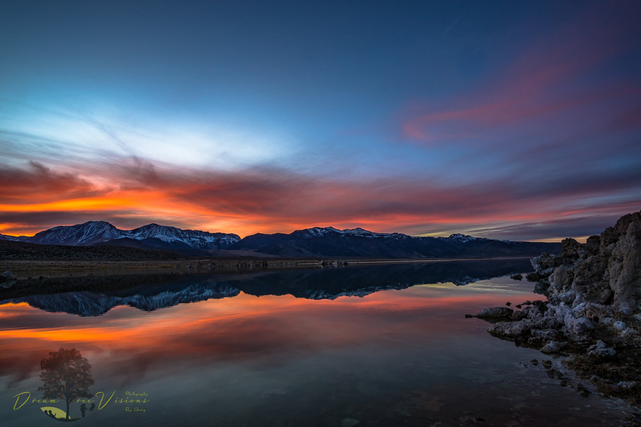 Ethereal photo of blue and red sky over Mono Lake