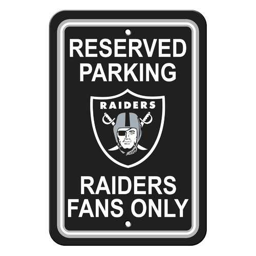 Oakland Raiders Sign - Plastic - Reserved Parking - 12 in x 18 in