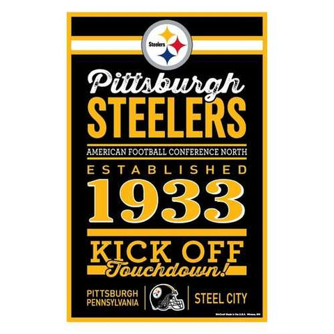 Pittsburgh Steelers Sign 11x17 Wood Established Design