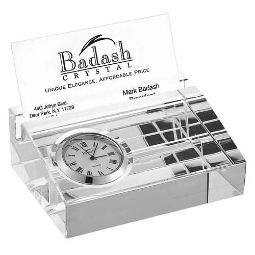 "4"" Clear Crystal Business Card Holder with Inlaid Clock"