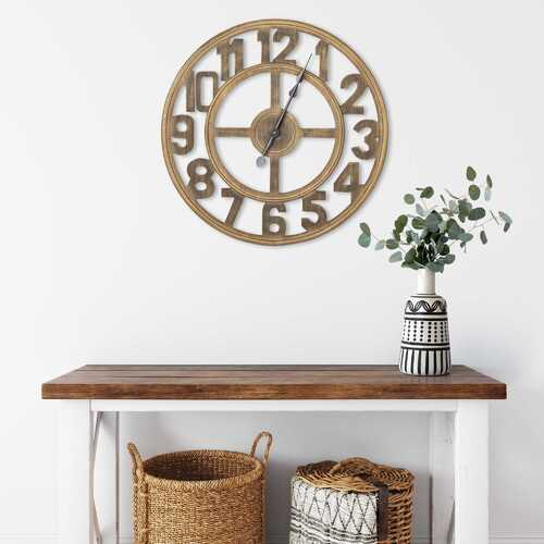 "23"" Round Wooden Open-Face Wall Clock"