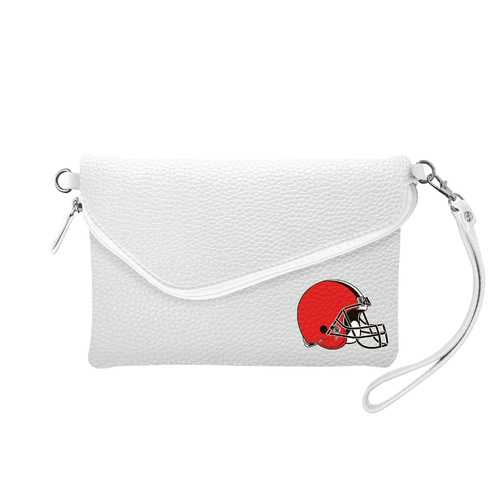 Cleveland Browns Purse Pebble Fold Over Crossbody White Special Order