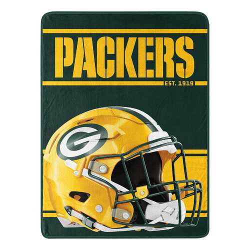 Green Bay Packers Blanket 46x60 Micro Raschel Run Design Rolled