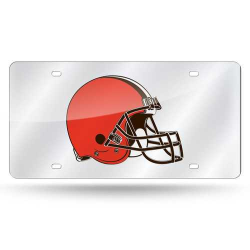 Cleveland Browns License Plate Laser Cut Silver Special Order